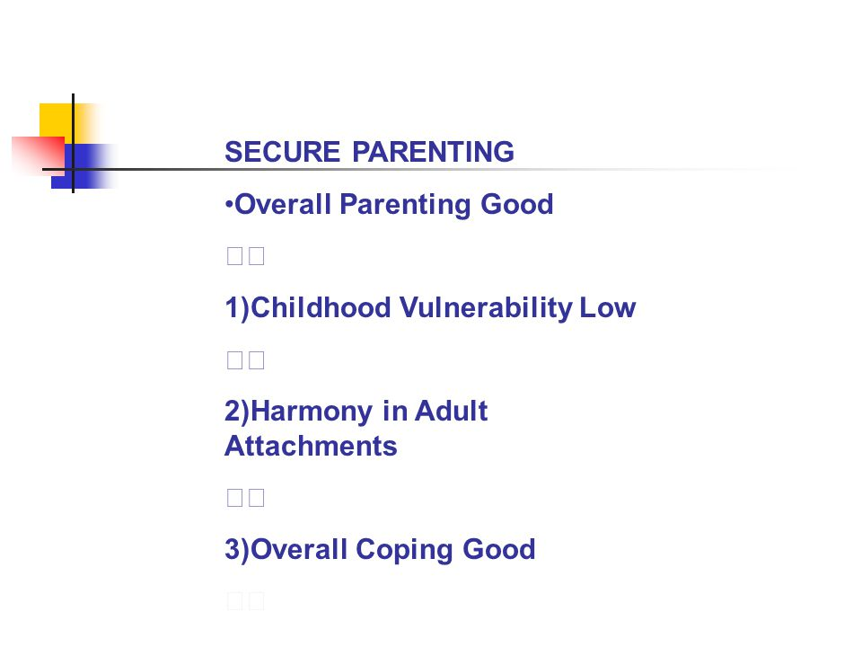 SECURE PARENTING •Overall Parenting Good.  1)Childhood Vulnerability Low. 2)Harmony in Adult Attachments.