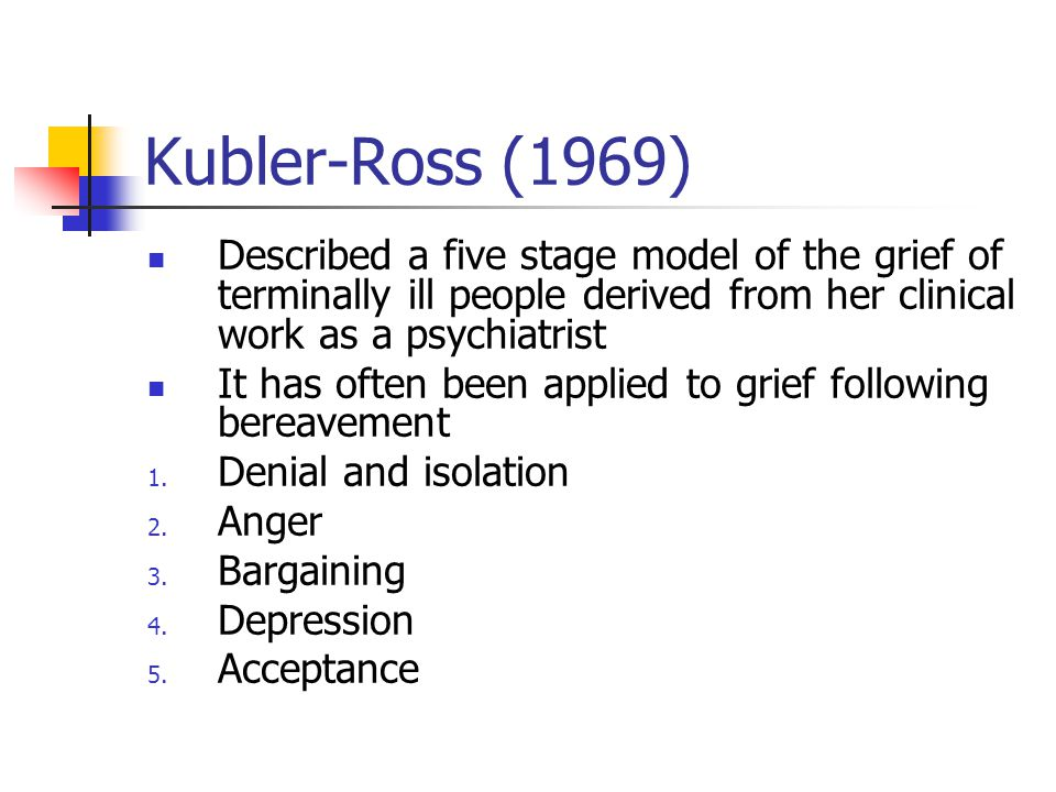 Kubler-Ross (1969) Described a five stage model of the grief of terminally ill people derived from her clinical work as a psychiatrist.