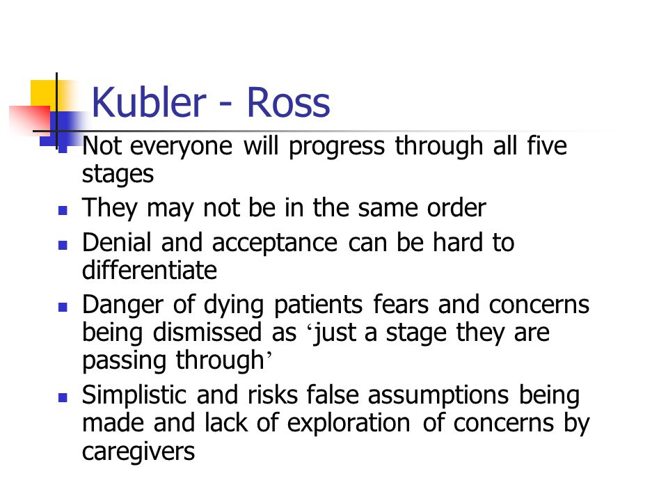 Kubler - Ross Not everyone will progress through all five stages