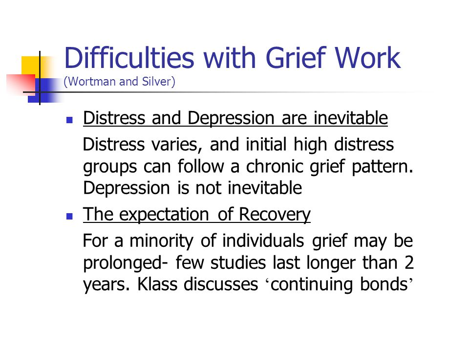 Difficulties with Grief Work (Wortman and Silver)