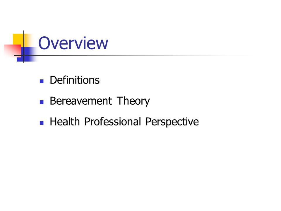 Overview Definitions Bereavement Theory