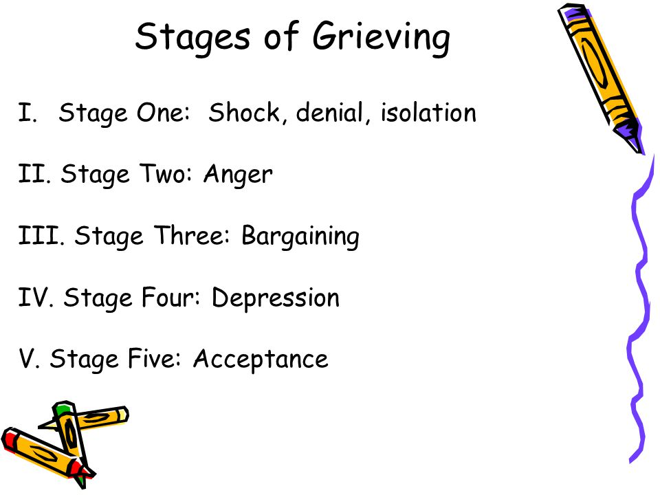 Stages of Grieving I. Stage One: Shock, denial, isolation