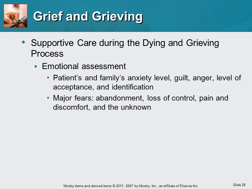 Grief and Grieving Supportive Care during the Dying and Grieving Process. Emotional assessment.