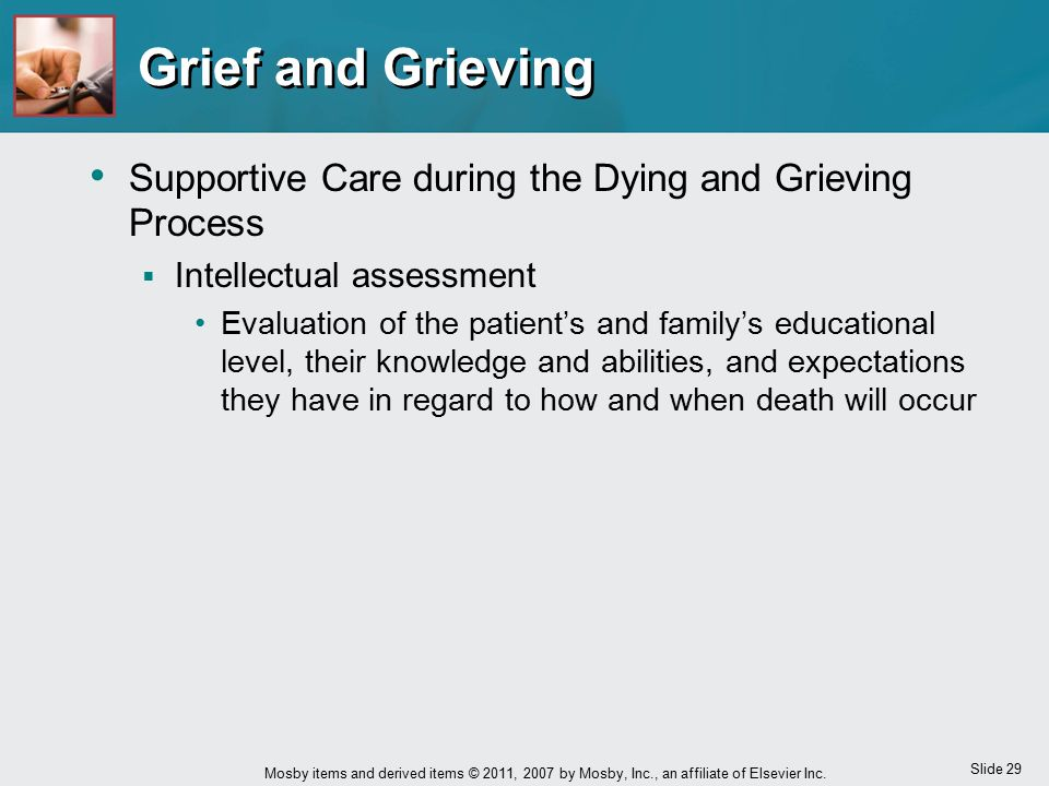 Grief and Grieving Supportive Care during the Dying and Grieving Process. Intellectual assessment.