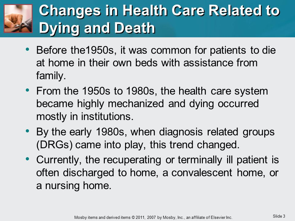Changes in Health Care Related to Dying and Death