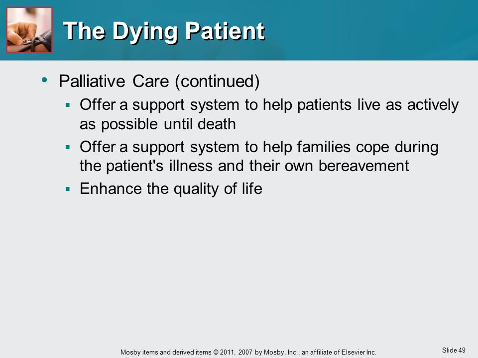 The Dying Patient Palliative Care (continued)
