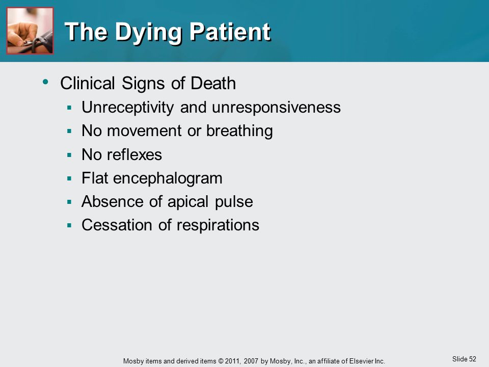 The Dying Patient Clinical Signs of Death
