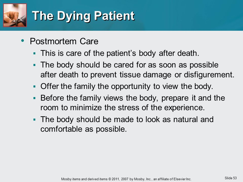 The Dying Patient Postmortem Care