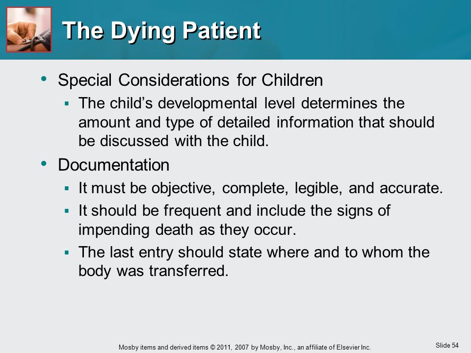 The Dying Patient Special Considerations for Children Documentation