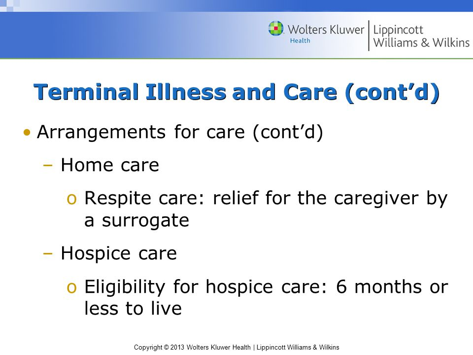Terminal Illness and Care (cont'd)