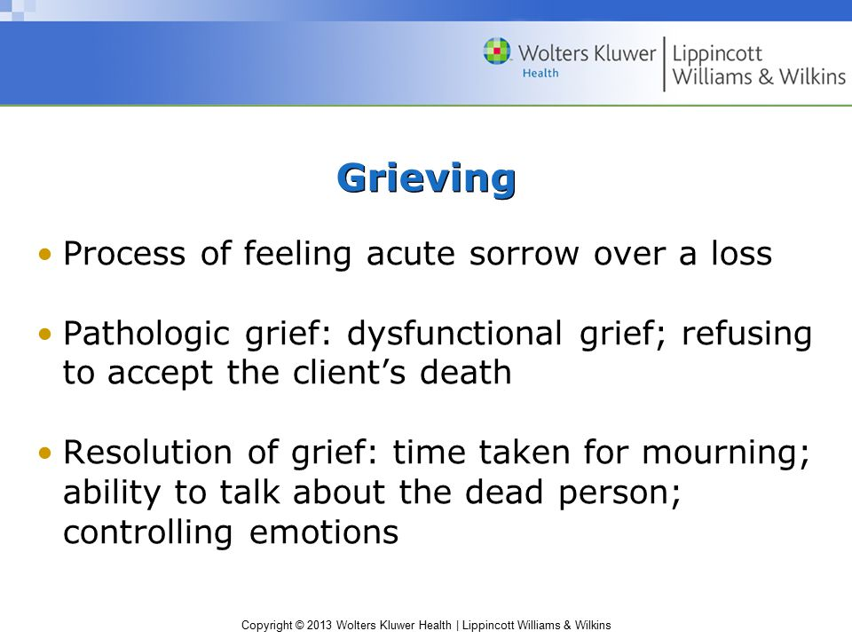 Grieving Process of feeling acute sorrow over a loss