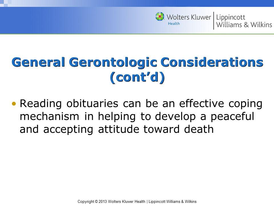 General Gerontologic Considerations (cont'd)