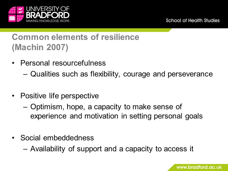 Common elements of resilience (Machin 2007)