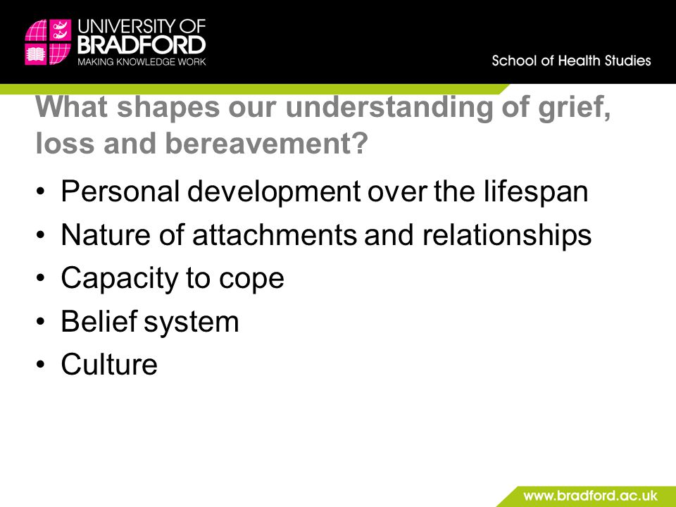 What shapes our understanding of grief, loss and bereavement
