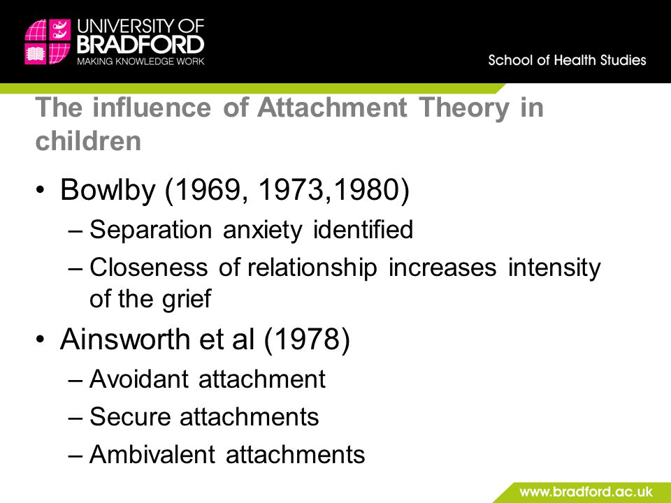 The influence of Attachment Theory in children