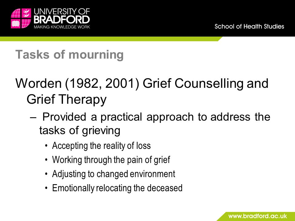 Worden (1982, 2001) Grief Counselling and Grief Therapy