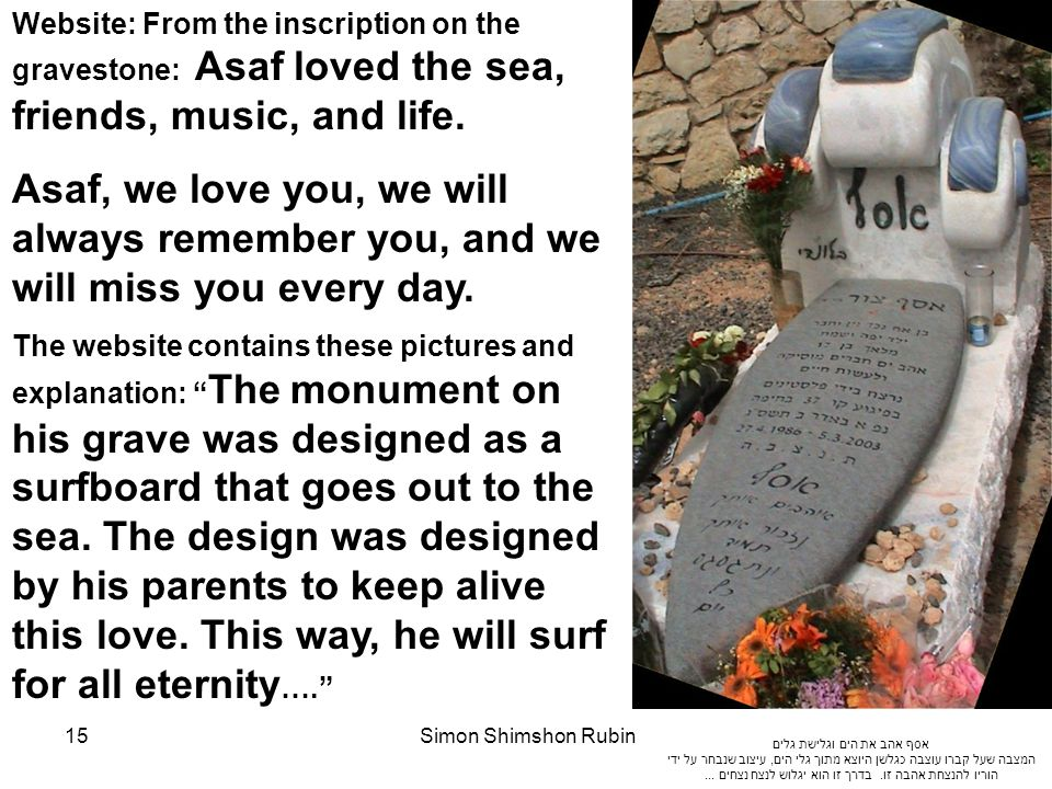 Website: From the inscription on the gravestone: Asaf loved the sea, friends, music, and life.