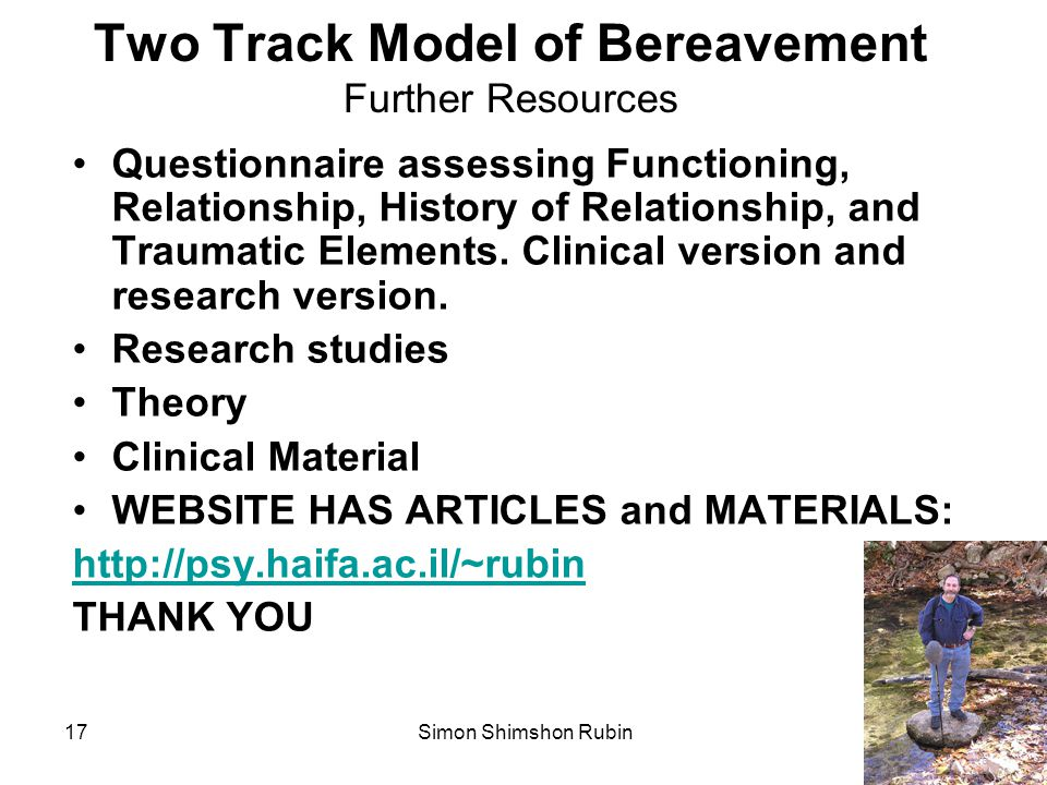 Two Track Model of Bereavement Further Resources