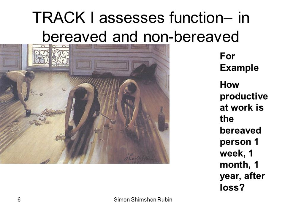 TRACK I assesses function– in bereaved and non-bereaved
