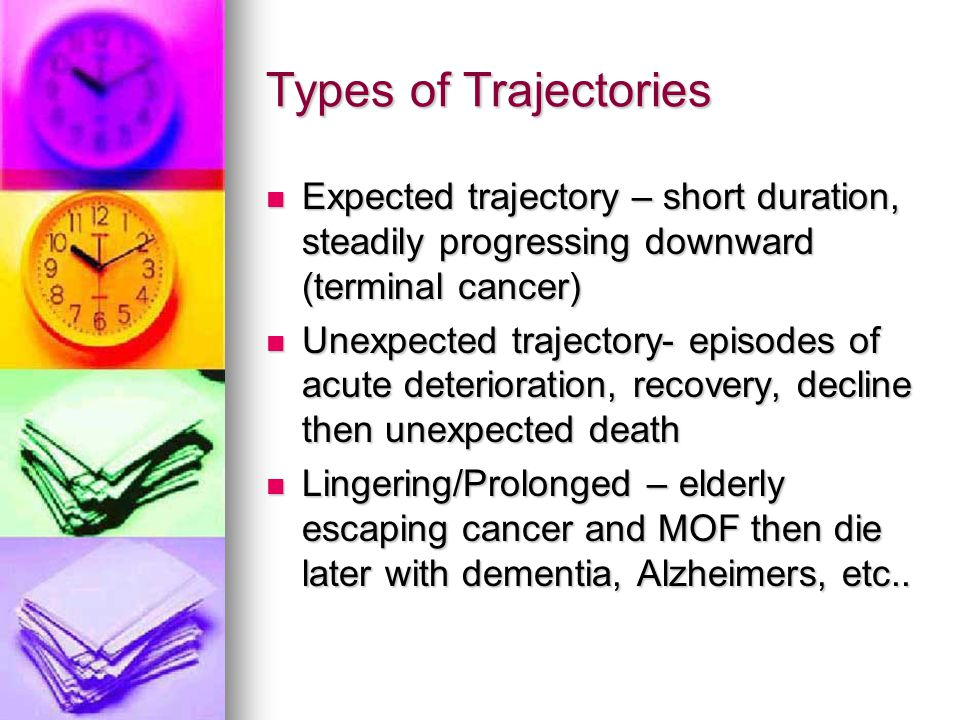 Types of Trajectories Expected trajectory – short duration, steadily progressing downward (terminal cancer)