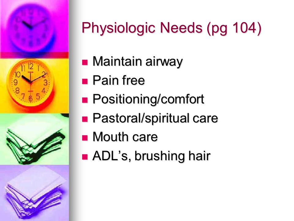 Physiologic Needs (pg 104)
