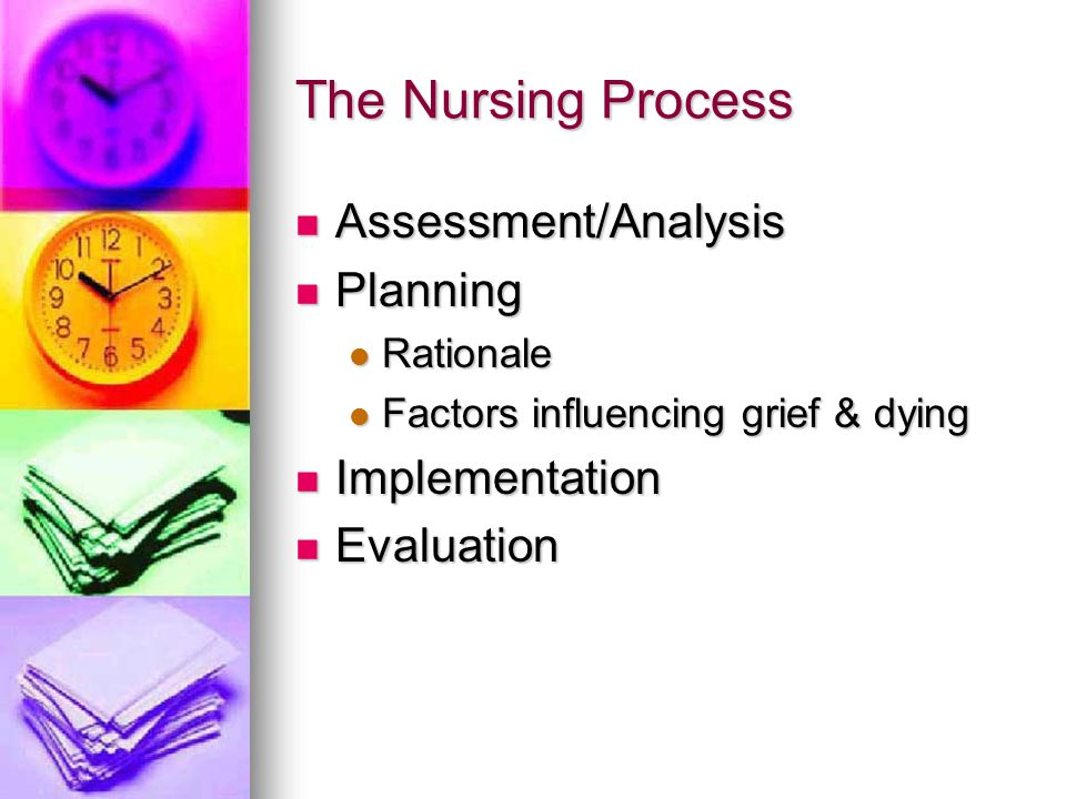 The Nursing Process Assessment/Analysis Planning Implementation