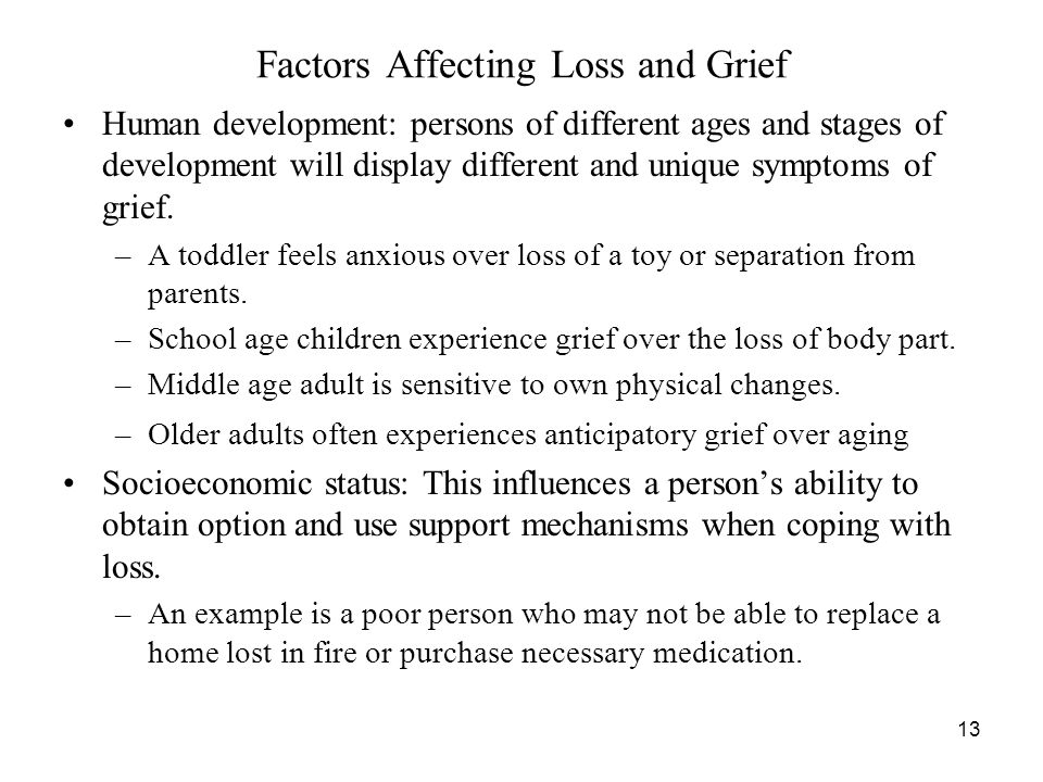 Bereavement affect child development