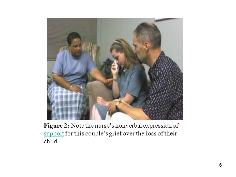 Figure 2: Note the nurse's nonverbal expression of support for this couple's grief over the loss of their child.