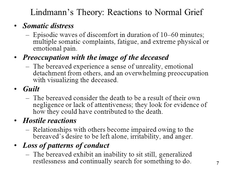 Lindmann's Theory: Reactions to Normal Grief