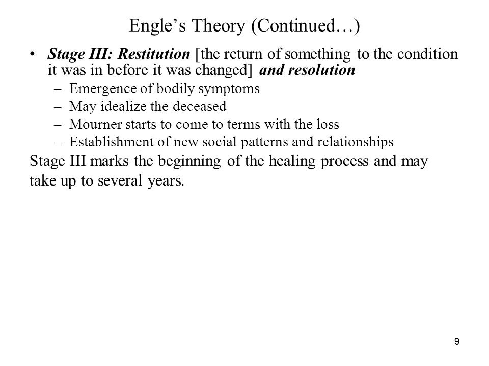 Engle's Theory (Continued…)