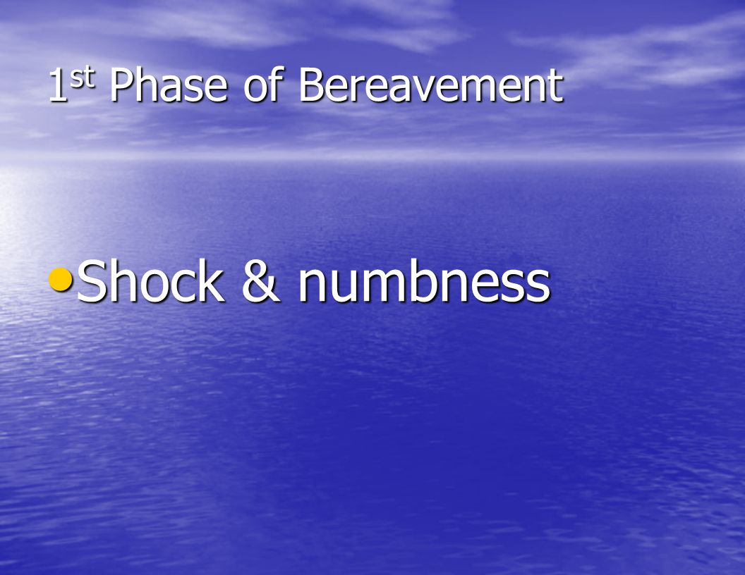 1st Phase of Bereavement