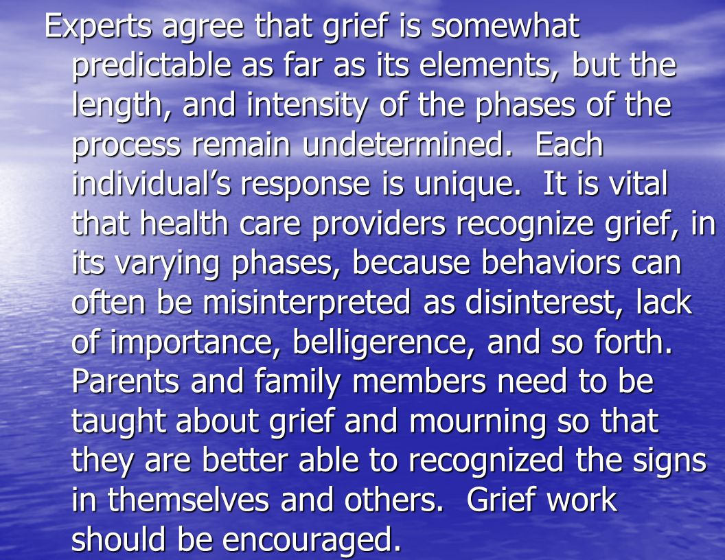 Experts agree that grief is somewhat predictable as far as its elements, but the length, and intensity of the phases of the process remain undetermined.