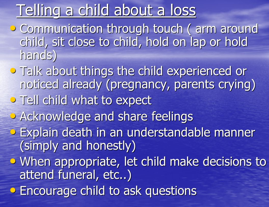 Telling a child about a loss