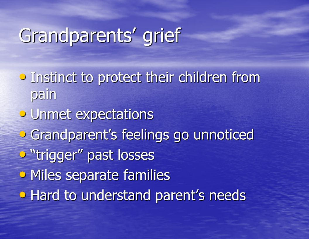 Grandparents' grief Instinct to protect their children from pain