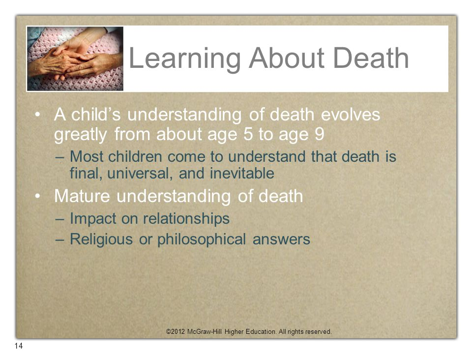 Learning About Death A child's understanding of death evolves greatly from about age 5 to age 9.