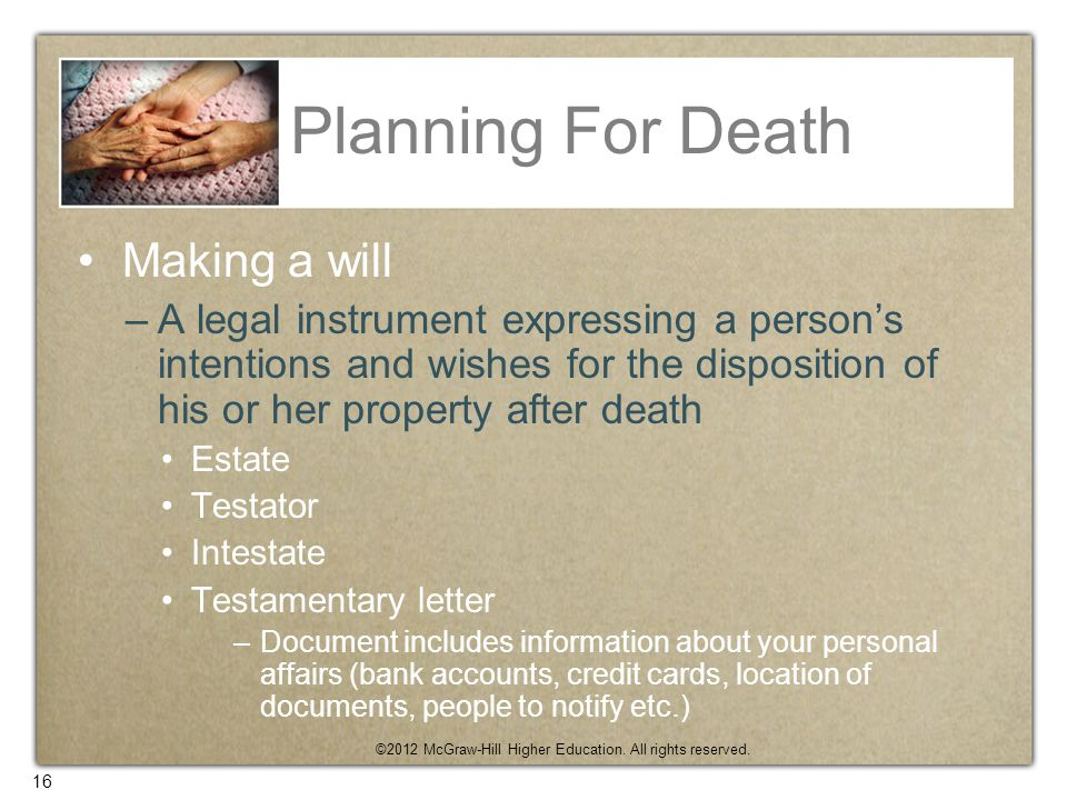 Planning For Death Making a will