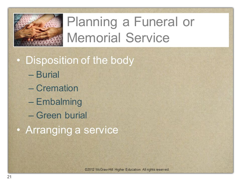 Planning a Funeral or Memorial Service