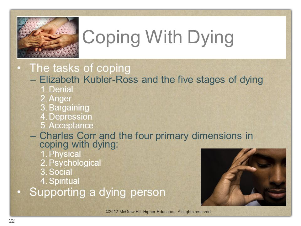 Coping With Dying The tasks of coping Supporting a dying person