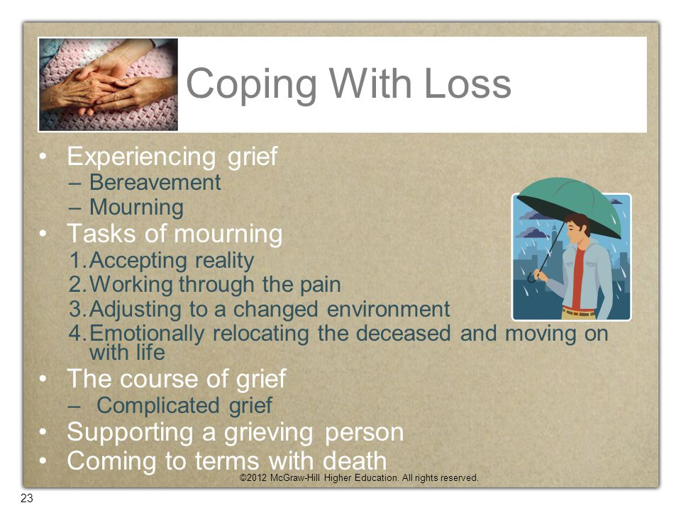 Coping With Loss Experiencing grief Tasks of mourning