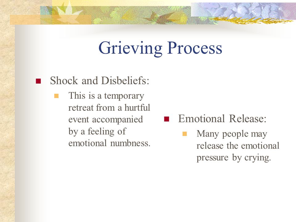 Grieving Process Shock and Disbeliefs: Emotional Release: