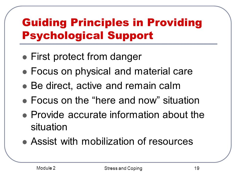 Guiding Principles in Providing Psychological Support