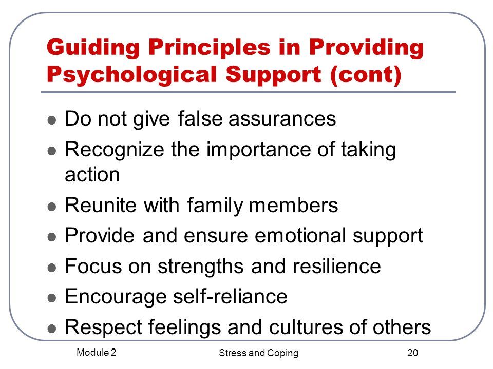 Guiding Principles in Providing Psychological Support (cont)