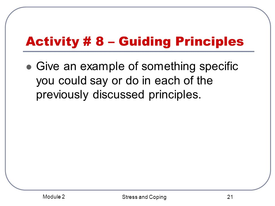 Activity # 8 – Guiding Principles