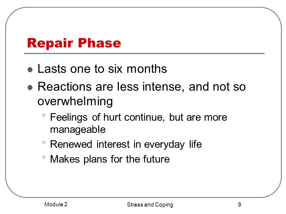 Repair Phase Lasts one to six months