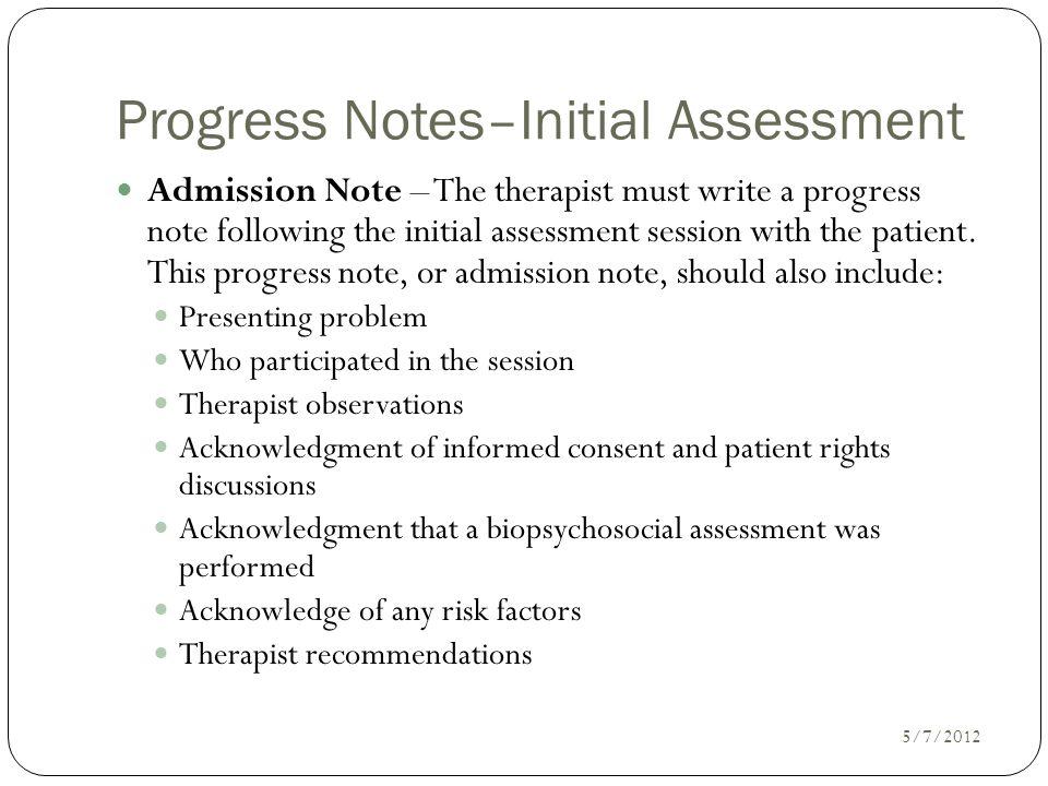 Progress Notes–Initial Assessment