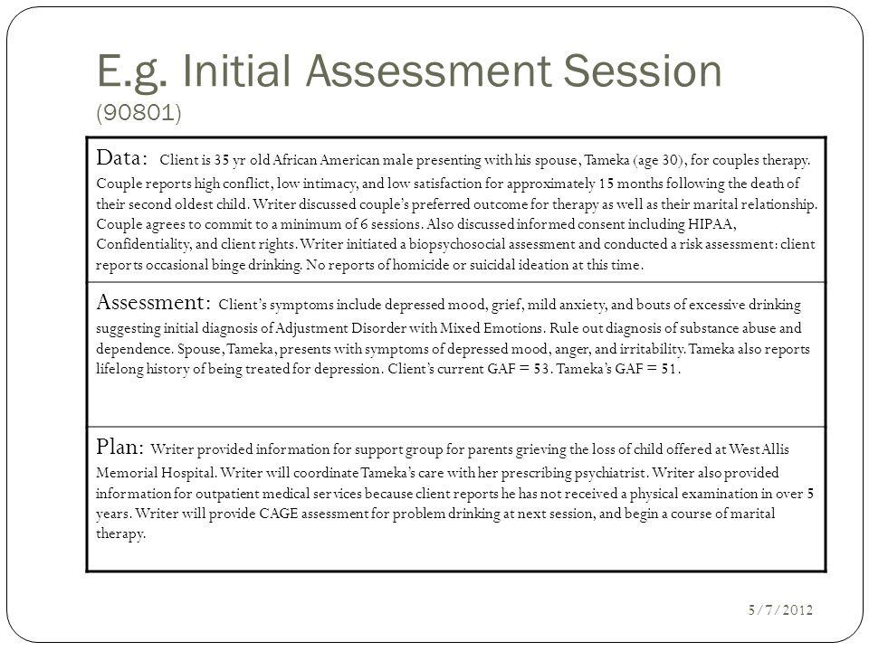 E.g. Initial Assessment Session (90801)