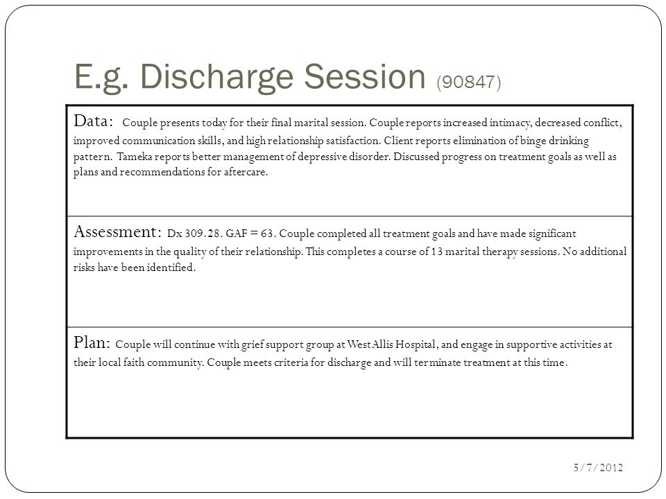 E.g. Discharge Session (90847)