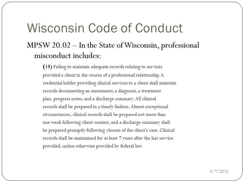 Wisconsin Code of Conduct