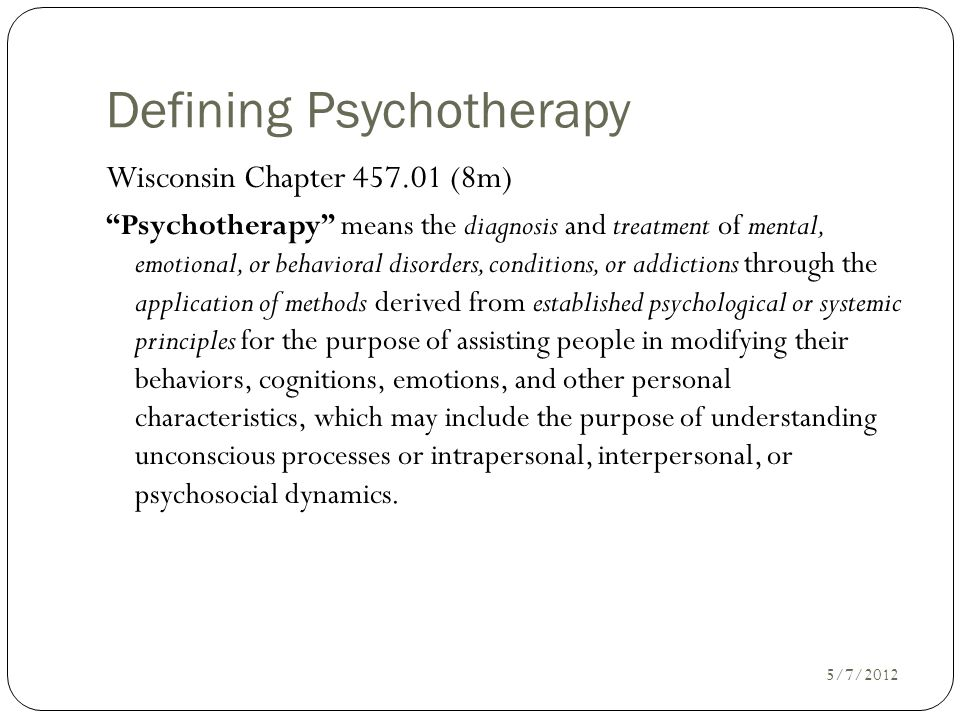 Defining Psychotherapy