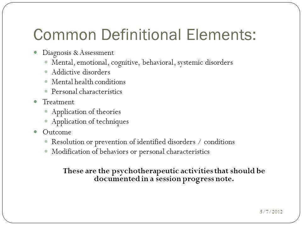 Common Definitional Elements: